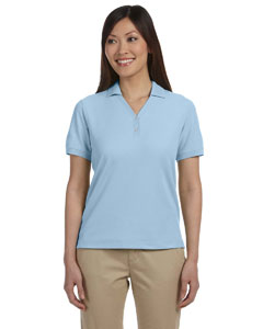 Light Blue Women's Pima Piqué Short-Sleeve Y-Collar Polo