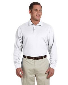 White Men's Pima Piqué Long-Sleeve Polo