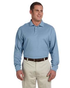 Slate Blue Men's Pima Piqué Long-Sleeve Polo