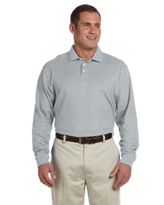 Grey Heather Men's Pima Piqué Long-Sleeve Polo