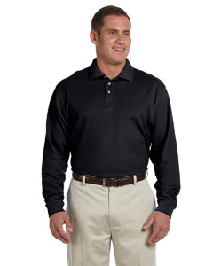 Black Men's Pima Piqué Long-Sleeve Polo