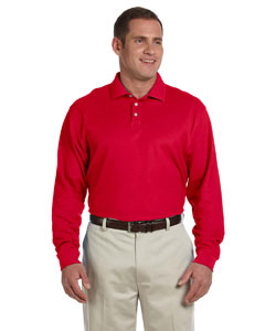 Red Men's Pima Piqué Long-Sleeve Polo