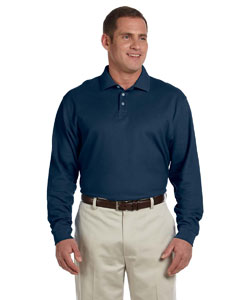 Navy Men's Pima Piqué Long-Sleeve Polo