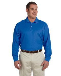 French Blue Men's Pima Piqué Long-Sleeve Polo