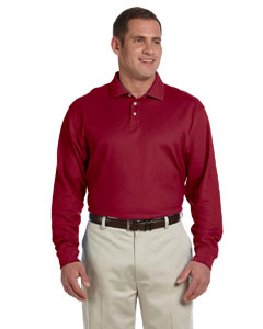 Burgundy Men's Pima Piqué Long-Sleeve Polo