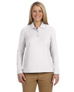 White Women's Pima Piqué Long-Sleeve Polo
