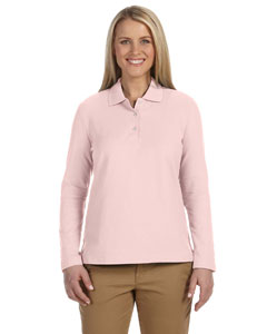 Pink Women's Pima Piqué Long-Sleeve Polo