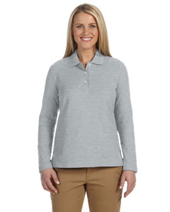Grey Heather Women's Pima Piqué Long-Sleeve Polo