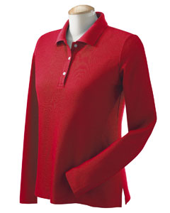 Red Women's Pima Piqué Long-Sleeve Polo