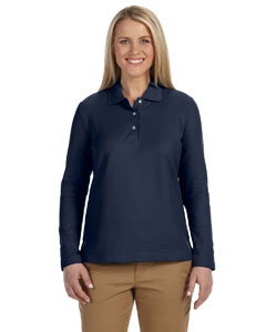 Navy Women's Pima Piqué Long-Sleeve Polo
