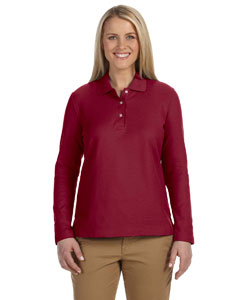 Burgundy Women's Pima Piqué Long-Sleeve Polo