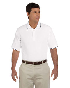 White/navy Men's Pima Piqué Short-Sleeve Tipped Polo