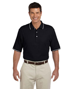 Black/white Men's Pima Piqué Short-Sleeve Tipped Polo