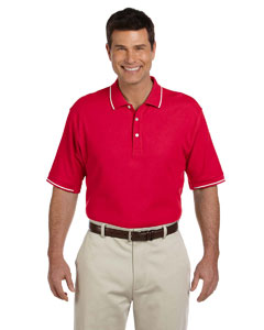 Red/white Men's Pima Piqué Short-Sleeve Tipped Polo