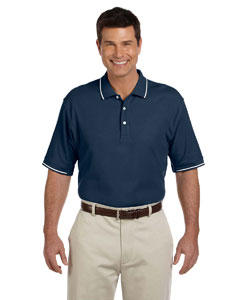 Navy/white Men's Pima Piqué Short-Sleeve Tipped Polo