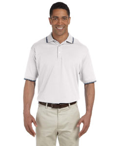 White/navy Men's Tipped Perfect Pima Interlock Polo