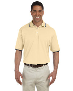 Butter/navy Men's Tipped Perfect Pima Interlock Polo