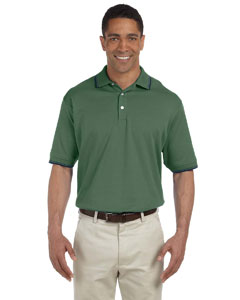 Dill/navy Men's Tipped Perfect Pima Interlock Polo