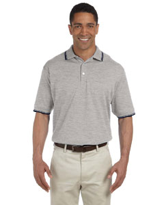 Grey Heather/nvy Men's Tipped Perfect Pima Interlock Polo