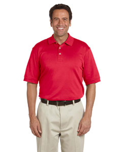 Red Men's Solid Perfect Pima Interlock Polo
