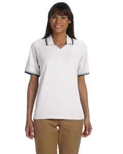 White/navy Women's Tipped Perfect Pima Interlock Polo