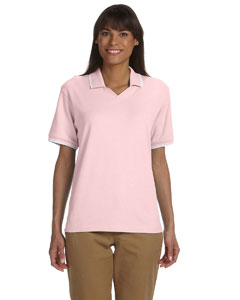 Pink/white Women's Tipped Perfect Pima Interlock Polo