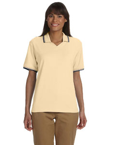 Butter/navy Women's Tipped Perfect Pima Interlock Polo