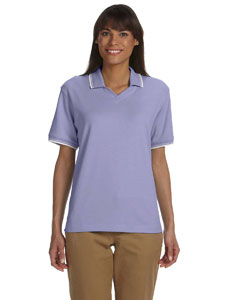 Lavender/white Women's Tipped Perfect Pima Interlock Polo