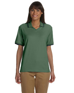 Dill/navy Women's Tipped Perfect Pima Interlock Polo