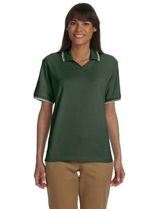Forest/creme Women's Tipped Perfect Pima Interlock Polo