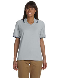 Grey Heather/nvy Women's Tipped Perfect Pima Interlock Polo