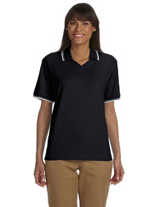 Black/white Women's Tipped Perfect Pima Interlock Polo