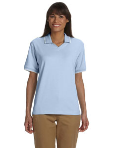 Light Blue/white Women's Tipped Perfect Pima Interlock Polo