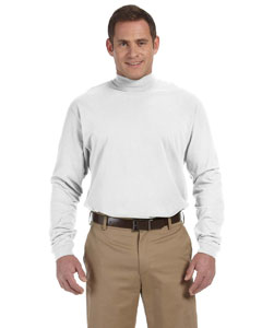 White Sueded Cotton Jersey Mock Turtleneck