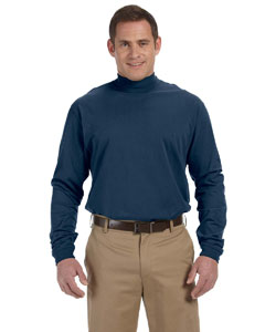 Navy Sueded Cotton Jersey Mock Turtleneck