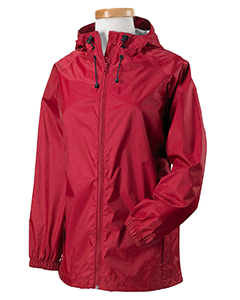 Red Women's Nylon Rip-Stop Rain Jacket