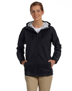Black Women's Nylon Rip-Stop Rain Jacket