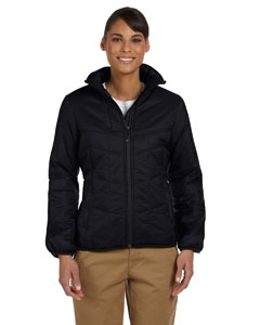 Black Women's Mini Rip-Stop Polyfill Jacket