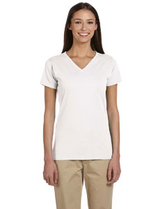 White Women's 4.4 oz., 100% Organic Cotton Short-Sleeve V-Neck T-Shirt
