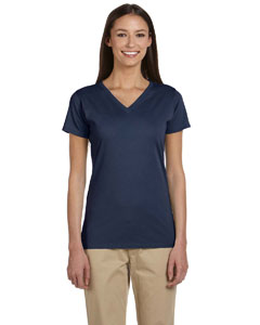 Navy Women's 4.4 oz., 100% Organic Cotton Short-Sleeve V-Neck T-Shirt