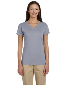 Athletic Grey Women's 4.4 oz., 100% Organic Cotton Short-Sleeve V-Neck T-Shirt
