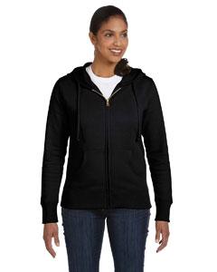Black Ladies' 9 oz. Organic/Recycled Full-Zip Hood