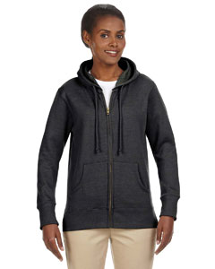 Charcoal Ladies' 7 oz. Organic/Recycled Heathered Fleece Full-Zip Hood