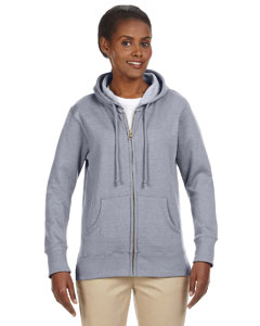 Athletic Grey Ladies' 7 oz. Organic/Recycled Heathered Fleece Full-Zip Hood