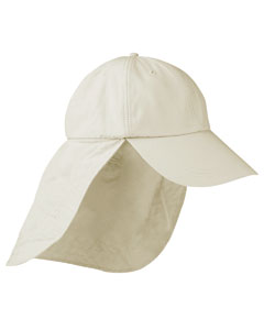 Stone 6-Panel Low-Profile Cap with Elongated Bill and Neck Cape