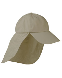 Khaki 6-Panel Low-Profile Cap with Elongated Bill and Neck Cape
