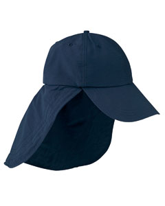 Navy 6-Panel Low-Profile Cap with Elongated Bill and Neck Cape