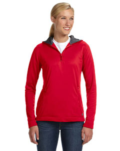 True Red Women's Tech Fleece Quarter-Zip Pullover Hood