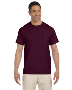 Maroon Ultra Cotton® 6 oz. Pocket T-Shirt