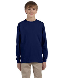 Navy Ultra Cotton® Youth 6 oz. Long-Sleeve T-Shirt